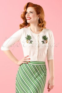 40s Lucy Pineapple Cardigan in Ivory