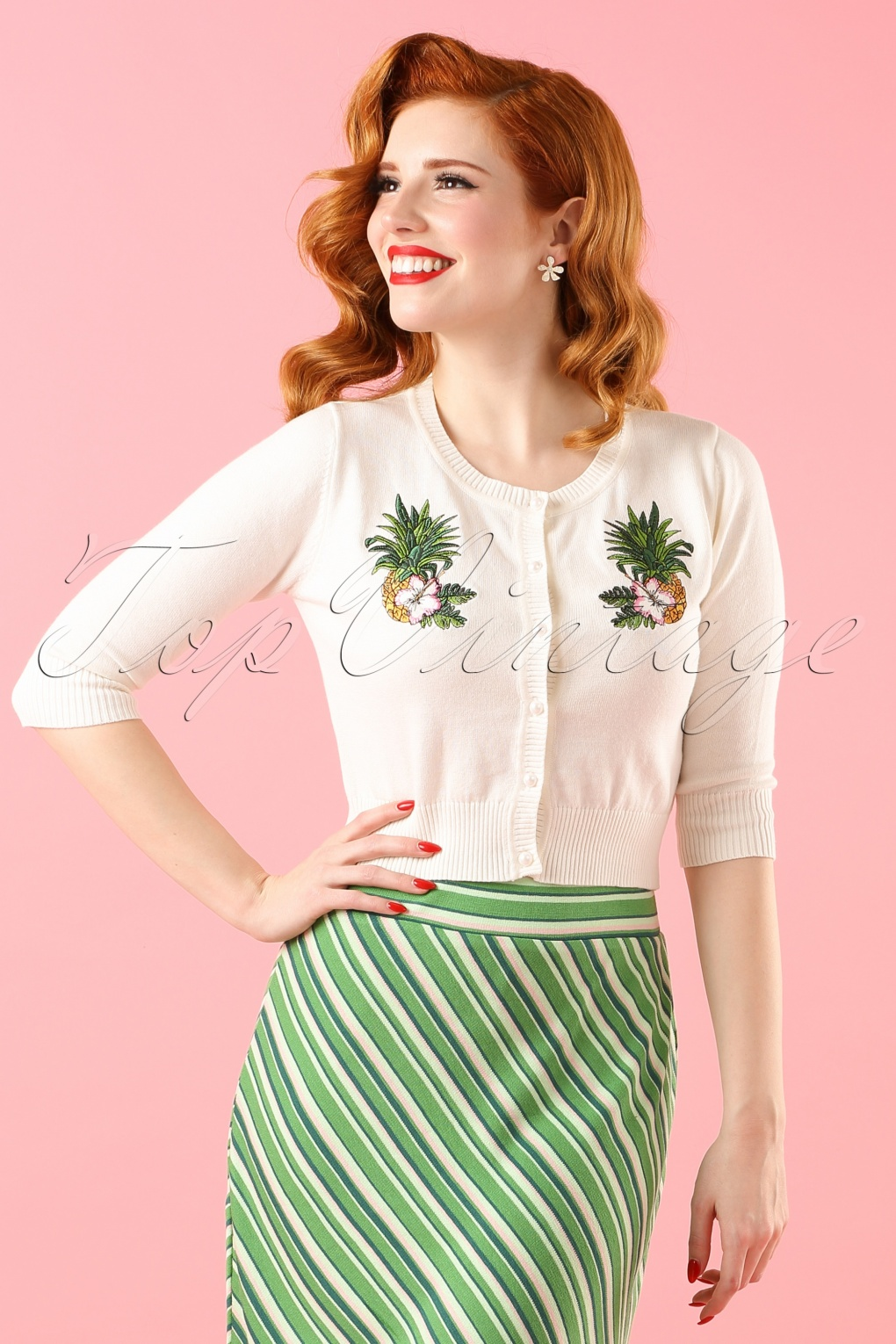 1950s Style Sweaters, Crop Cardigans, Twin Sets 40s Lucy Pineapple Cardigan in Ivory £25.00 AT vintagedancer.com