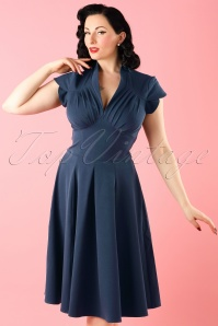 Claudette Swing Dress Années 50 en Bleu marine
