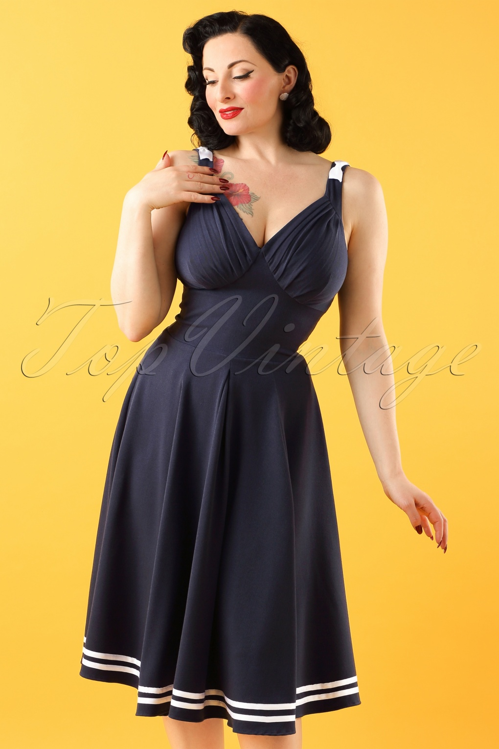 50s Dresses, Pinup Dresses, Swing Dresses 50s Carol May Sailor Dress in Navy £80.64 AT vintagedancer.com