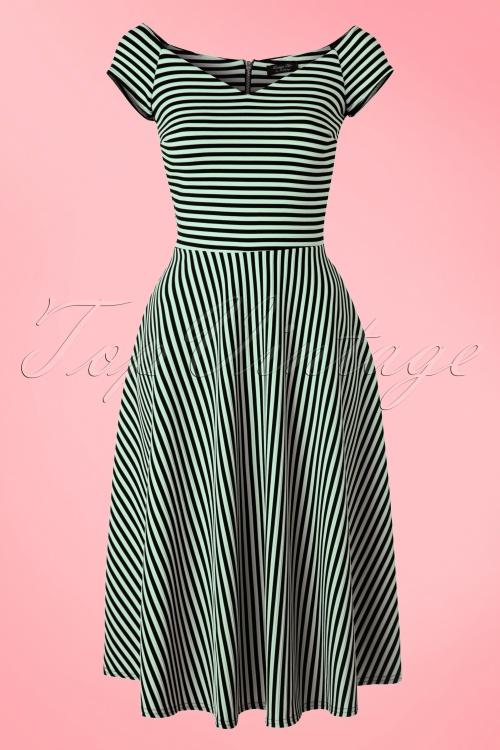 Vintage Chic  50s Alma Mint Black Stripes Swing Dress 102 49 18909 20160317 0002W