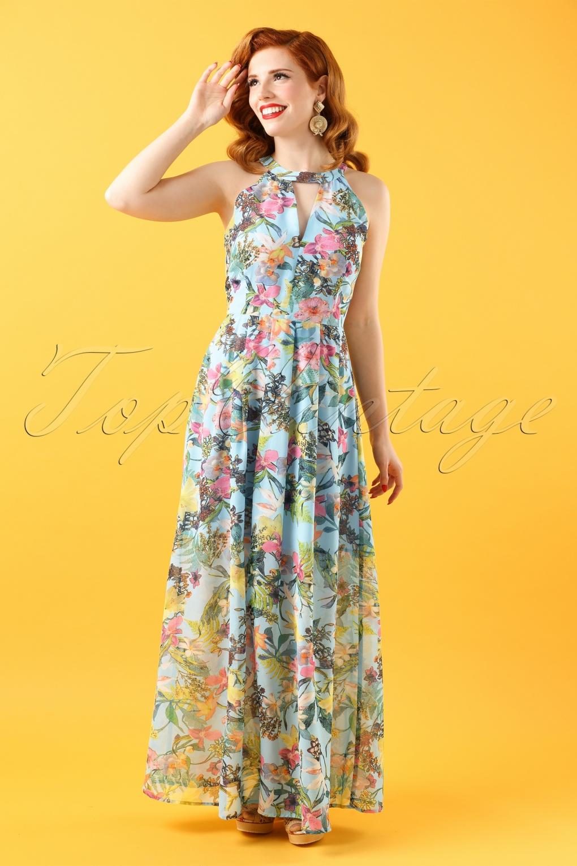 70s Zaela Floral Maxi Dress In Light Blue