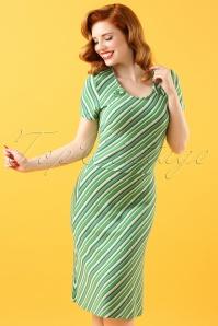 60s June Walk The Line Dress in Green