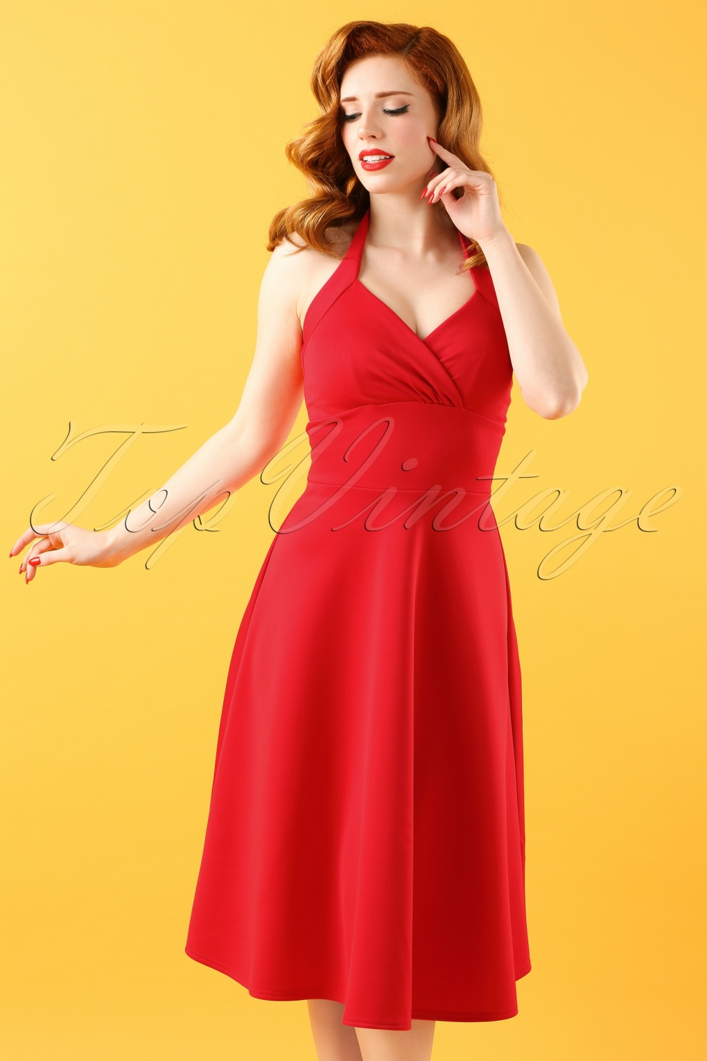 TopVintage exclusive ~ 50s Meredith Halter Swing Dress in Red