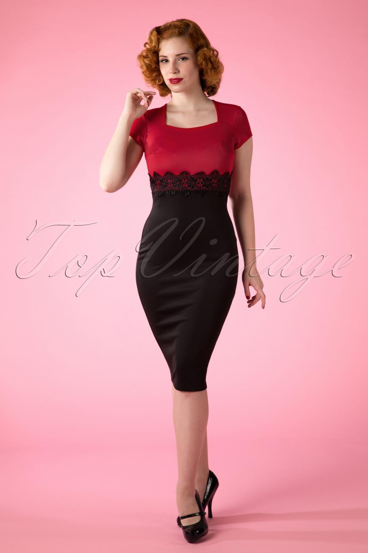 fa3b9f3fce3c 50s Scarlet Lace Dress in Red