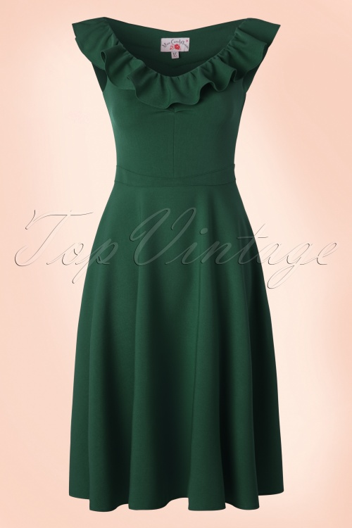 Miss Candyfloss Swing Dress in Emerald Green 102 40 18026 20160411 0004W