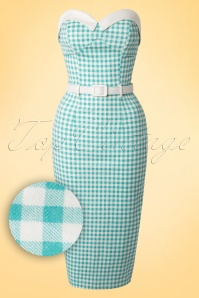 50s Monica Gingham Pencil Dress in Mint and White