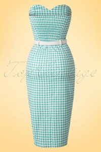 Collectif Cloting Monica Gingham Mint Pencil Dress 17653 20151119 0001W
