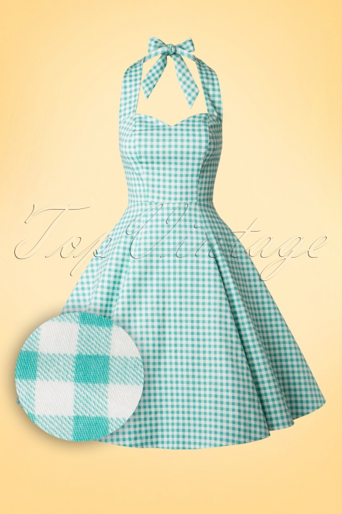 50s Lori Swing Dress in Mint and White Gingham