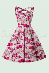 Hearts and Roses  50s Samantha Pink Flowers Swing Dress 102 29 19098 20160210 0007W