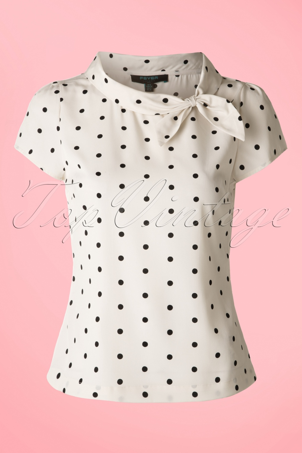 1950s Rockabilly & Pinup Tops, Shirts, Blouses 50s Garland Polkadot Top in Cream £42.31 AT vintagedancer.com