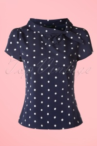 50s Garland Polkadot Top in Navy