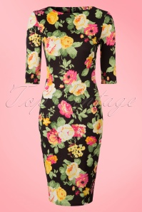 50s Aurora Flower Pencil Dress in Black and Yellow