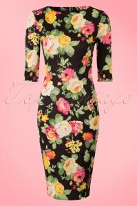 Vintage Chic Scuba Summer Flower Black Pencil Dress 100 14 19036 20160412 0001W