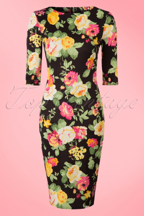 Vintage Chic Scuba Summer Flower Black Pencil Dress 100 14 19036 20160412 0001W