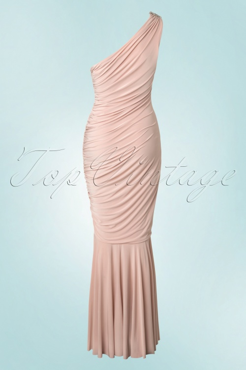50s Grecian One Shoulder Maxi Dress in Nude