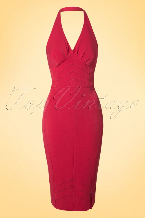 Miss Candyfloss Halter Red Pencil Dress 100 20 18033 20160414 0004W