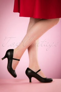 Bettie Page Shoes Bettie Pumps Années 50 en Noir