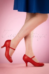 Bettie Page Shoes Bettie Pumps Années 50 en Rouge