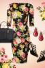 Vintage Chic Scuba Summer Flower Black Pencil Dress 100 14 19036 20160412 0001WTopVIntage FB
