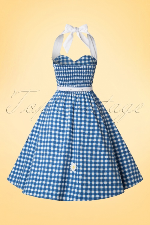 50s Daisy Painted Gingham Swing Dress in Blue