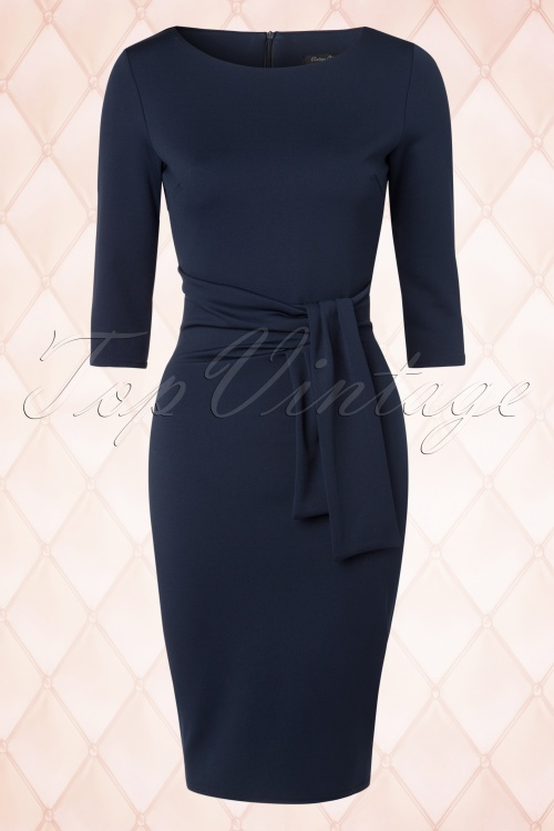 Collectif Clothing Navy Long Sleeves Pencil Dress 100 31 18950 20160418 0005pop