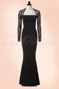 40s Isolde Lace Maxi Dress in Black