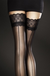 Celia Seamed Hold Ups en Noir
