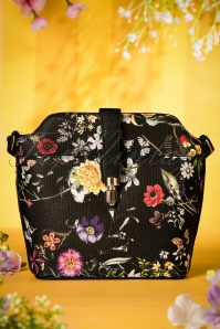 60s Miss Trixie Floral Bag in Black