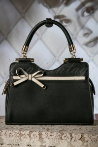 40s Audrey Bow Handbag in Black and Cream