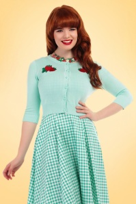 Collectif Cloting Lucy Strawberry Cardigan in Mint 17641 20151117 0009