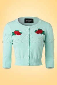 50s Lucy Strawberry Cardigan in Mint