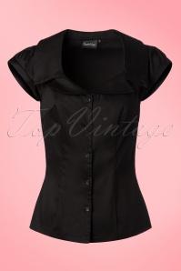 50s Julie Blouse in Black