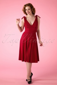50s Grecian Dress in Atlas Red