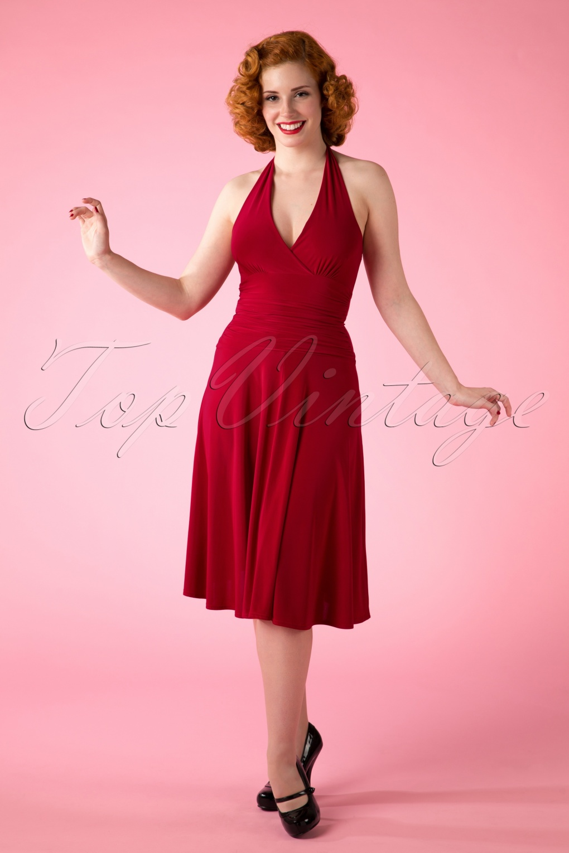 50s Valencia Halter Dress in Atlas Red