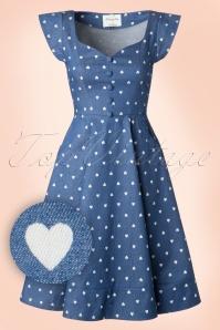 50s Judy Hearts Swing Dress in Denim