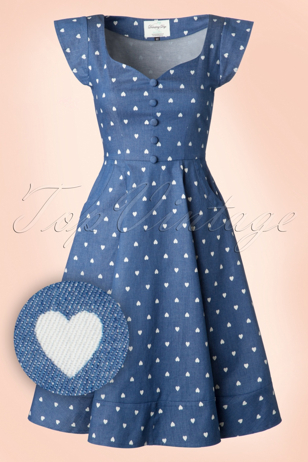 50s Dresses, Pinup Dresses, Swing Dresses 50s Judy Hearts Swing Dress in Denim £51.48 AT vintagedancer.com