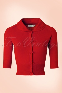 40s April Bow Cardigan in Red
