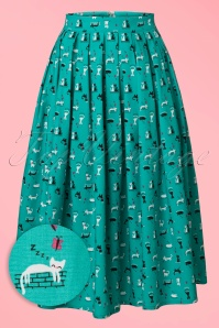 50s Claire Kitty Skirt in Turqouise