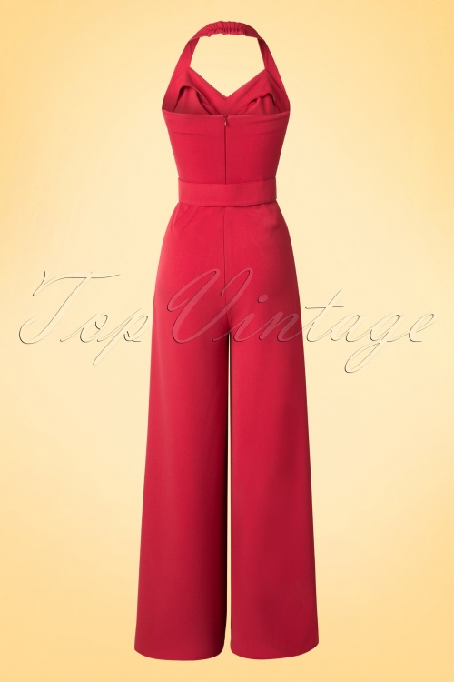 40s Palazzo Halter Jumpsuit in Red with Pompoms