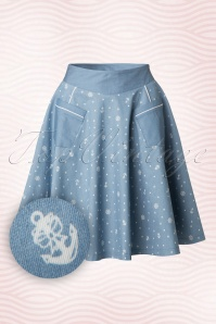 Dancing Days by Banned Sailor Blue Swing Skirt 122 39 17857 20160502 0006W1