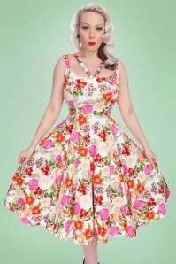 Hearts and Roses White Pink Floral Swing Dress 102 59 18407 20160503 1