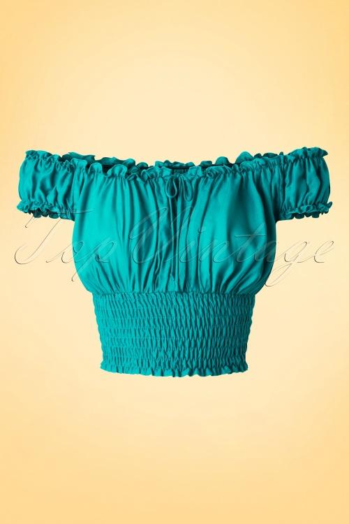 c29af1f7b0af15 Bettie Page Clothing La Fiesta Off shoulder Jade Green Top 10 40 17330  20160503 0003W