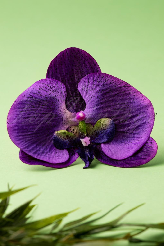 Retro Tiki Dress – Tropical, Hawaiian Dresses 50s Bring Me Purple Orchids Daily Hair Clip £8.02 AT vintagedancer.com