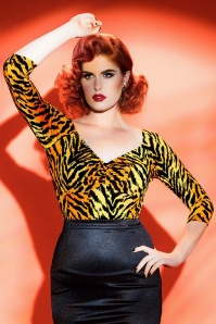 Pinup Couture Jailbird Tiger Striped top 113 28 17824 20160504 2