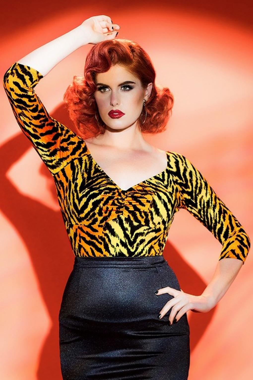50s Deadly Dames Jailbird Top in Orange Tiger
