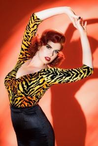 Pinup Couture Jailbird Tiger Striped top 113 28 17824 20160504 1