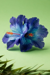 50s Double Hibiscus Double Pretty Hair Clip in Blue