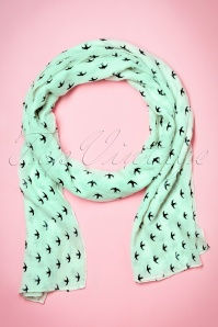 60s Swallows All Over Me Scarf in Mint