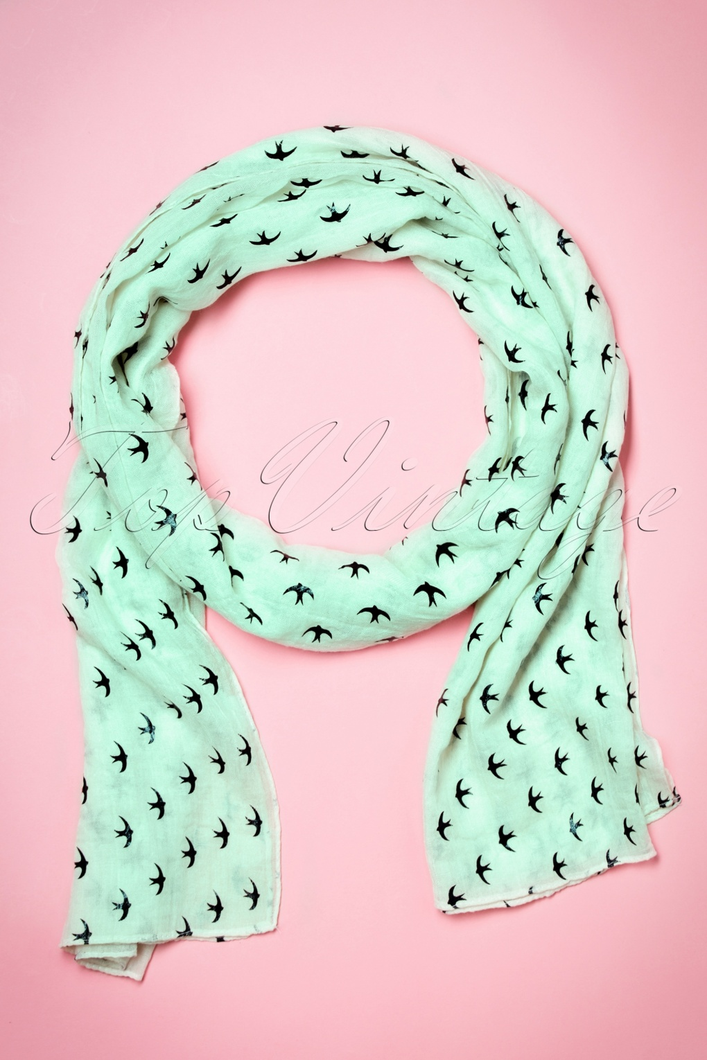 Vintage Scarves- New in the 1920s to 1960s Styles 60s Swallows All Over Me Scarf in Mint £8.45 AT vintagedancer.com